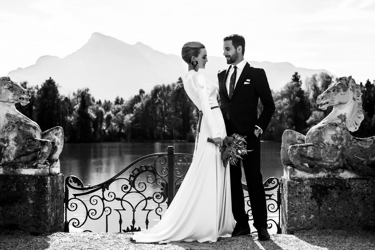 bride and groom luxury wedding black and white, couple, vienna
