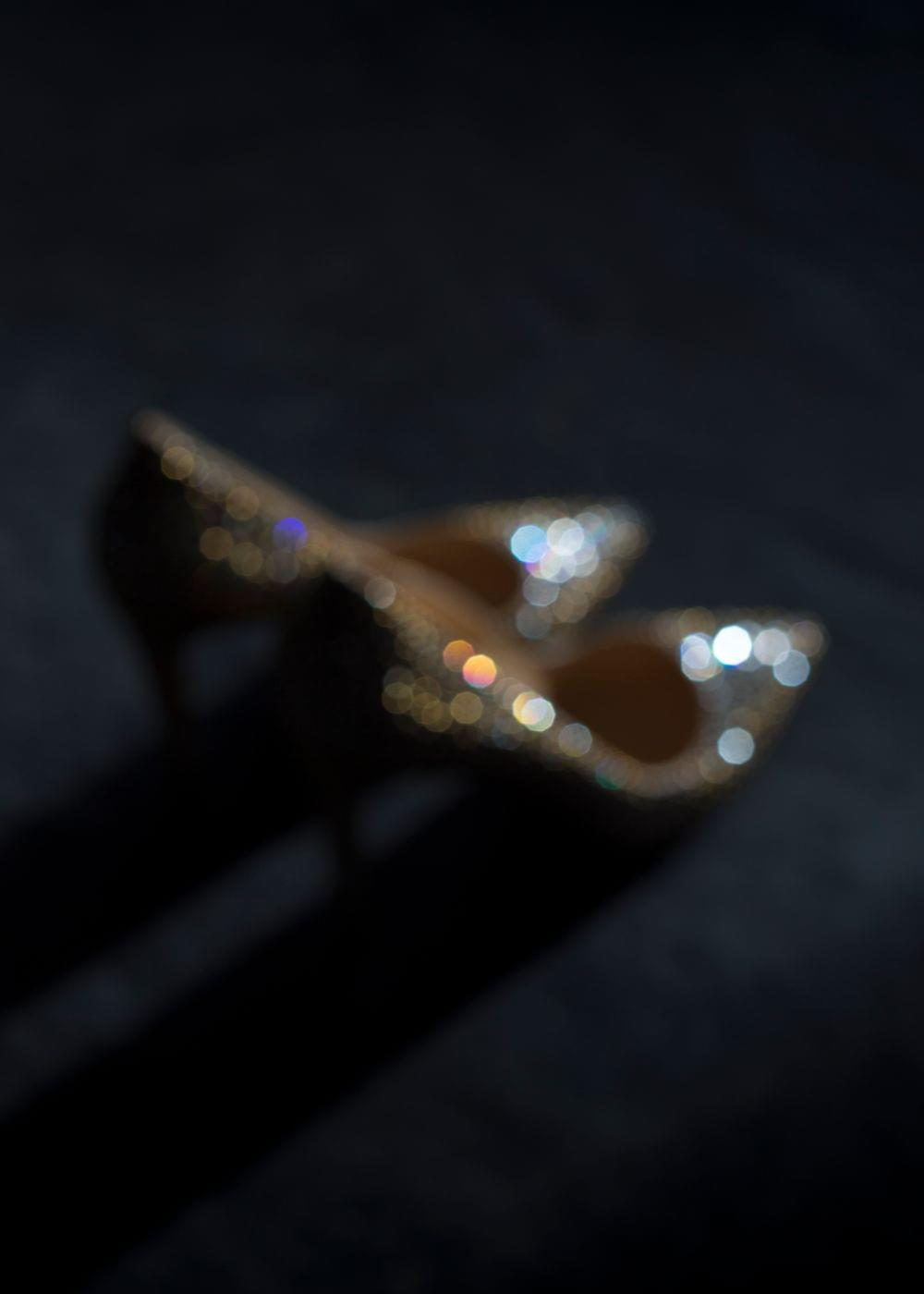 golden louboutin weddingshoes, swarowski